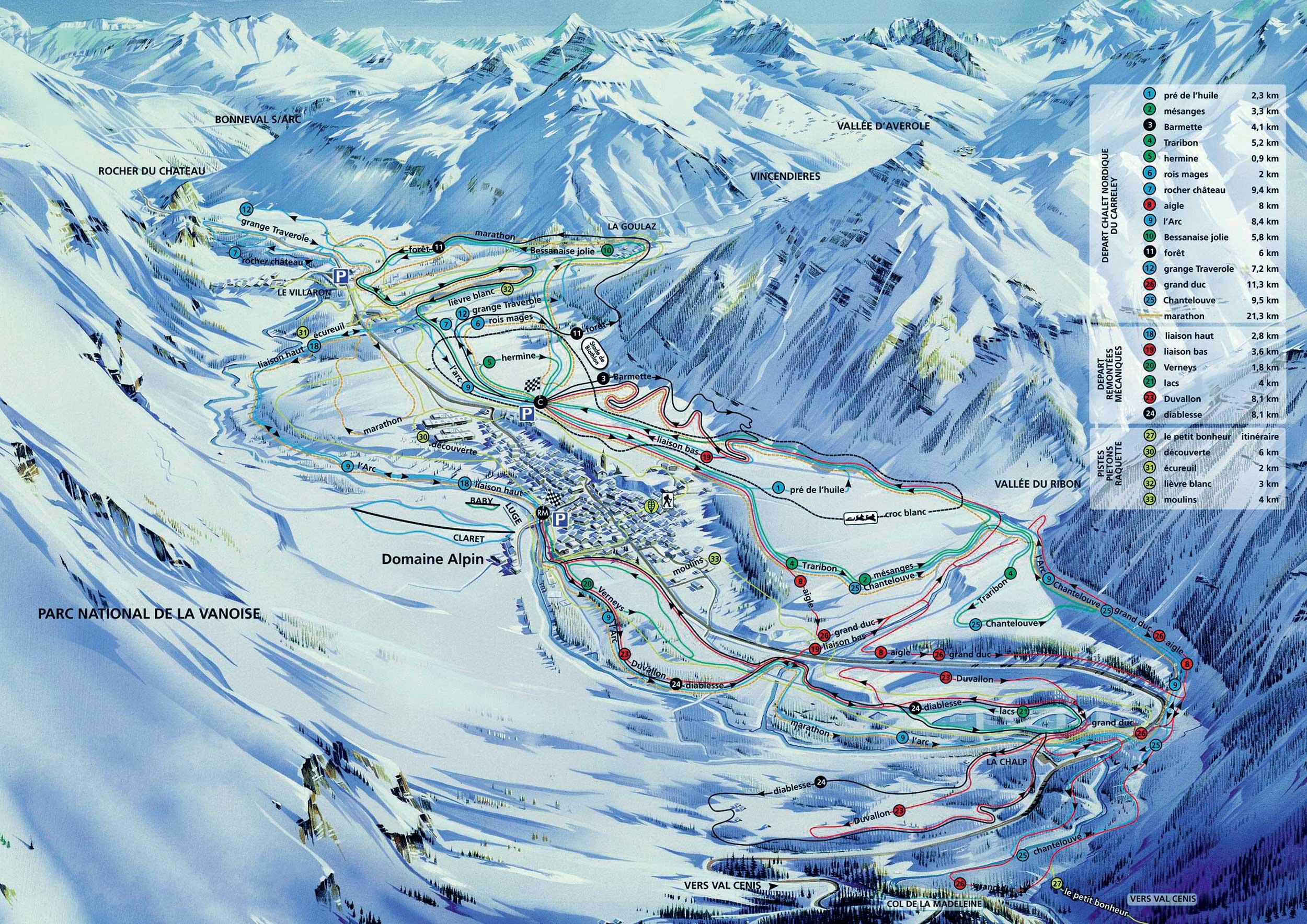 Hotel Restaurant Bessans Le Grand Fond   Plan Pistes Ski Bessans